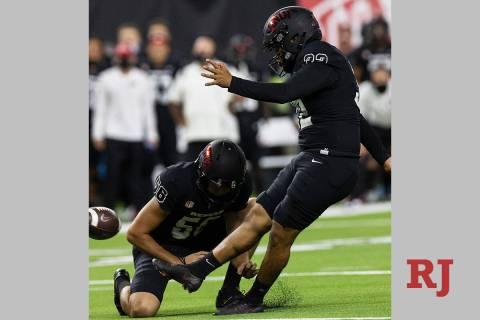 UNLV Rebels kicker Daniel Gutierrez (32) kicks a field goal during an NCAA football game again ...