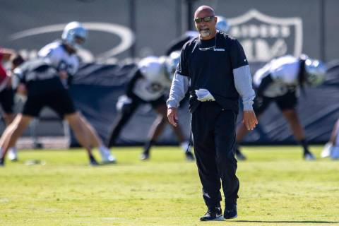 Heidi Fang/Las Vegas Review-Journal Raiders interim head coach Rich Bisaccia walks the field du ...
