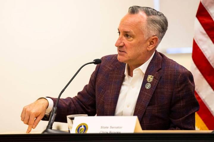 State Sen. Chris Brooks, D-Las Vegas, speaks during a roundtable discussion with Energy Secreta ...